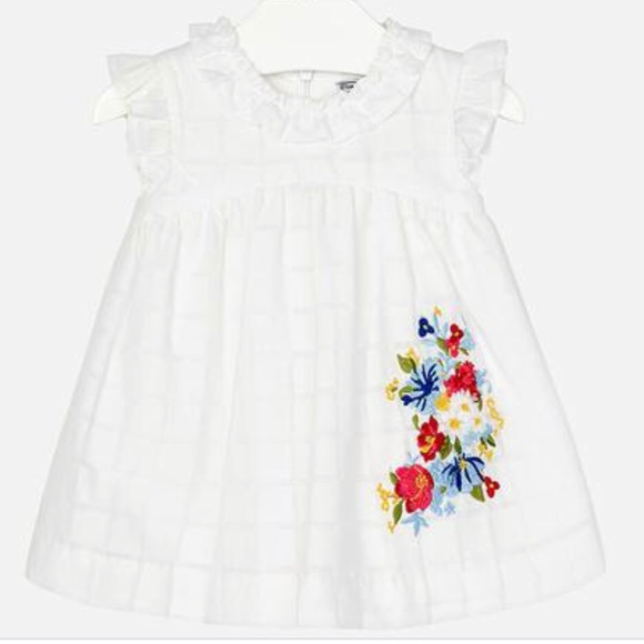8c6e6944698ea Mayoral Dresses | Baby Girl White Dress W Floral Embroidery | Poshmark